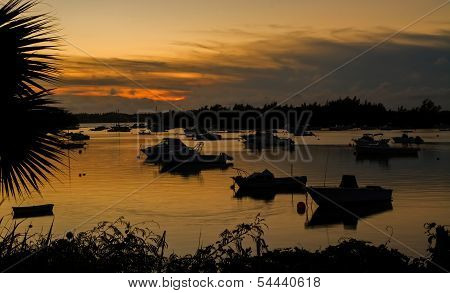 Boats at sunset