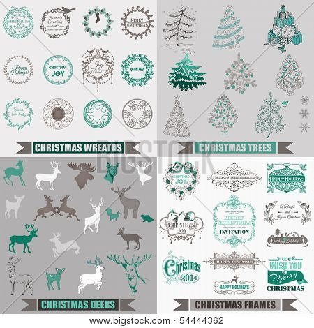 Vector Set: Christmas Calligraphic Design Elements, Frames, Christmas Trees, Vintage Frames