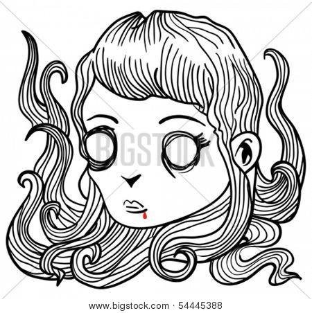 cartoon illustration of scary little vampire girl