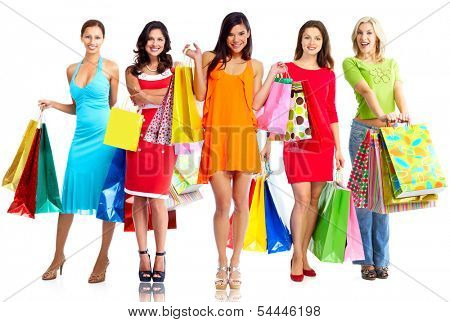 Women with shopping bags isolated over white background.
