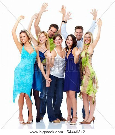 Group of dancing people isolated over white background.