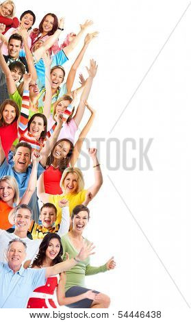 Group of happy people isolated on white background.