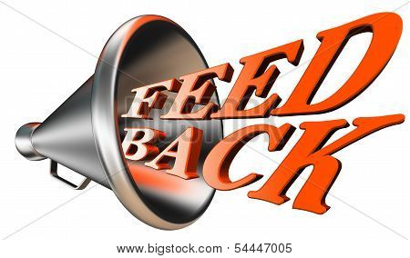 Feedback Orange Word In Bullhorn