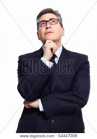 Thinking mature businessman isolated on white background