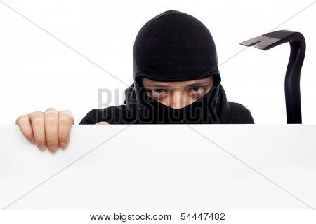 thief or burglar man isolated over white