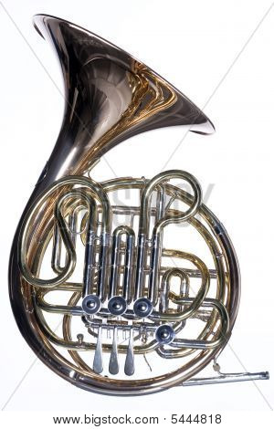 French Horn Isolated Against White