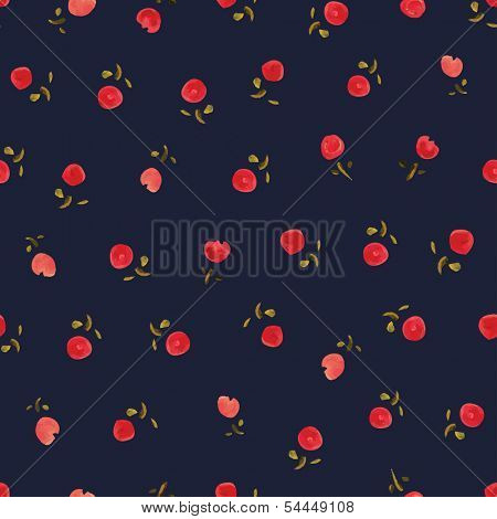 Small roses- watercolor. Dark background seamless pattern.