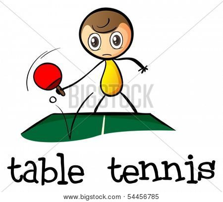Illustration of a stick man playing table tennis on a white background