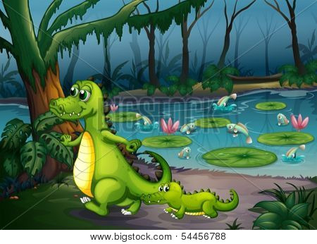 Illustration of a forest with a pond, crocodiles and fishes
