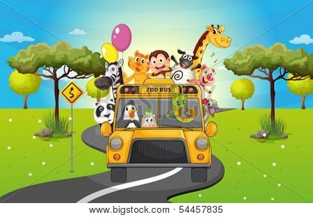 Illustration of a group of happy animals traveling