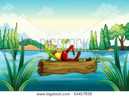 Illustration of a playful frog lying above the trunk that is floating