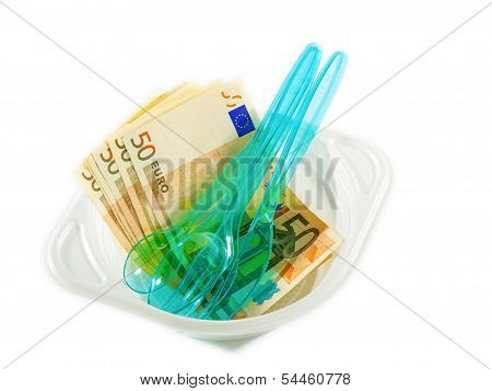 Euro Banknotes On Disposable Tableware
