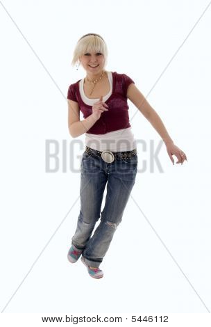 Run Blonde Jeans Girl
