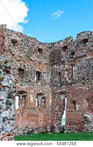 Ruins Of An Old Castle Ludza With Lake