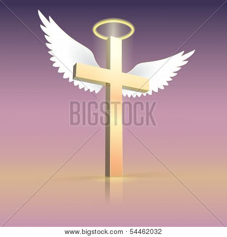 Angel wings nimbus and cross