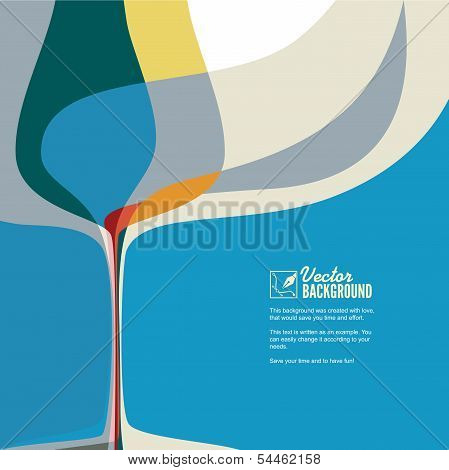 Abstract illustration with silhouette wine glass.