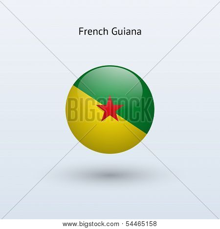 French Guiana round flag. Vector illustration.
