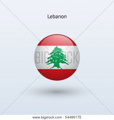 Lebanon round flag. Vector illustration.