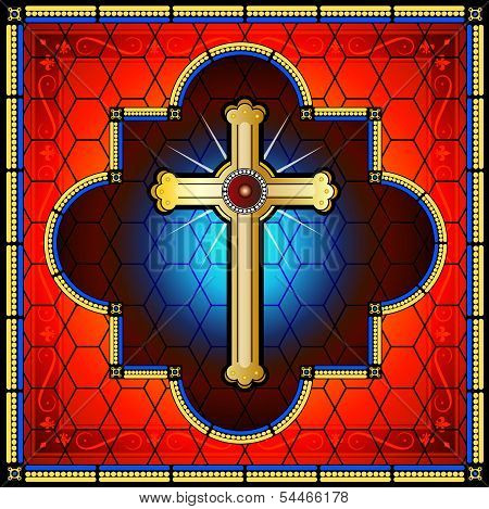 Golden cross on stained glass background