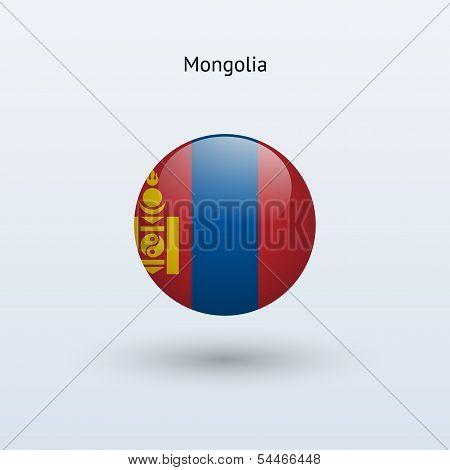 Mongolia round flag. Vector illustration.