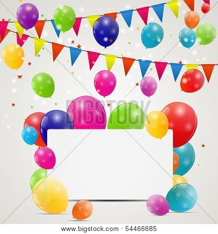Color glossy balloons birthday card  background vector illustrat