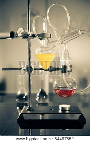 Glass Laboratory Apparatus With Liquid Samples
