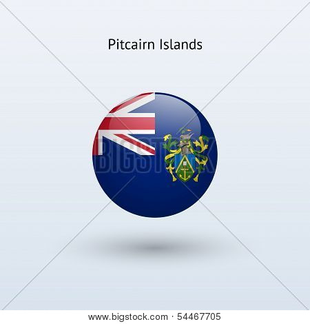 Pitcairn Islands round flag. Vector illustration.