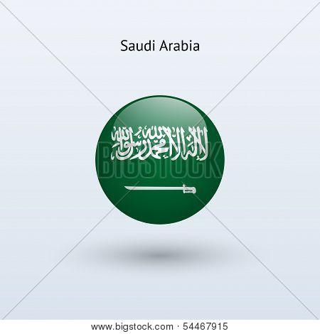 Saudi Arabia round flag. Vector illustration.