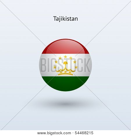 Tajikistan round flag. Vector illustration.