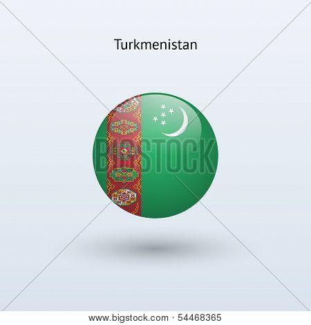 Turkmenistan round flag. Vector illustration.