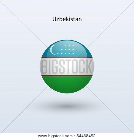 Uzbekistan round flag. Vector illustration.