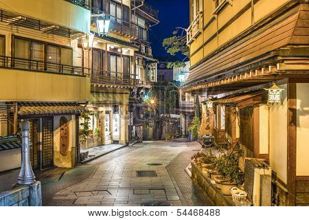 SHIBU ONSEN, JAPAN - FEBRUARY 5: Historic ryokan and onsen hot spring resorts February 5, 2013 in Japan. The historic hot springs town dates back over 400 years.