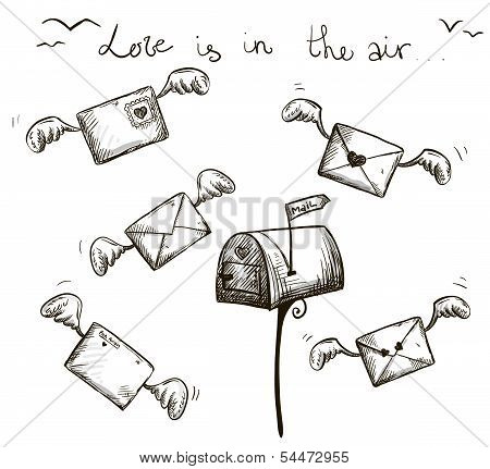 Winged letters, mailbox. St. Valentine's post.