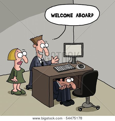 Shy new male office worker cartoon