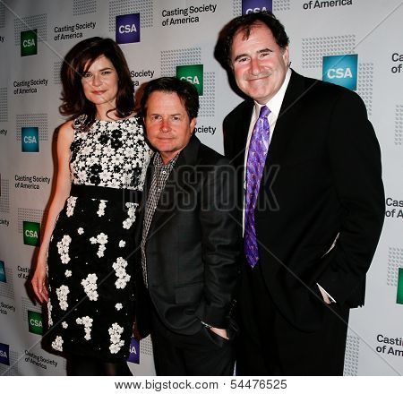 NEW YORK-NOV 18; Actors Betsy Brandt, Michael J. Fox and Richard Kind attend the CSA 29th Annual Artios Awards ceremony at the XL Nightclub on November 18, 2013 in New York City.