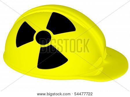 A Yellow Helmet With Black Radiation Sign