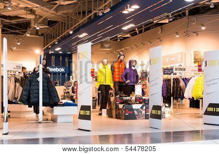 EKATERINBURG, RUSSIA - NOV 24: Reebok Center in Mega Mall on Nov 24, 2013 in Ekaterinburg, Russia. Mega Mall is one of the biggest malls in Russia