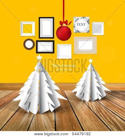 Merry Christmas greeting card with origami Christmas tree, Christmas ball and picture frames, photo art gallery on yellow wall. Vector EPS10