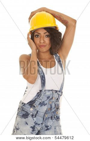 Woman Overalls Shorts Hard Hat On