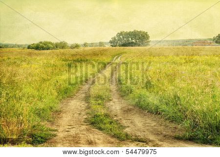 Peaceful Landscape With Country Road, Retro Styled Photo