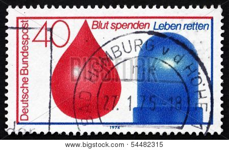 Postage Stamp Germany 1974 Drop Of Blood And Police Light