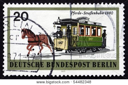 Postage Stamp Germany 1971 Horsedrawn Trolley