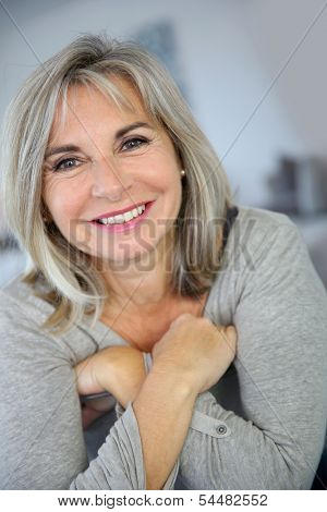 Portrait of attractive and serene mature woman