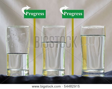 Three Water Glasses with Progress Concept