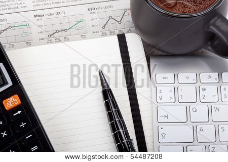 Business Photo: Tea With Open Note, Pen, Calculator, Newspaper (stock Index Overview) And Keyboard