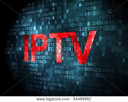 SEO web design concept: IPTV on digital background