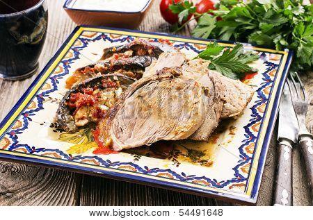 lamb roast with eggplant