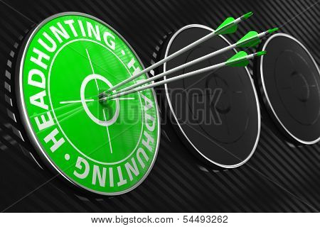 Headhunting Concept on Green Target.