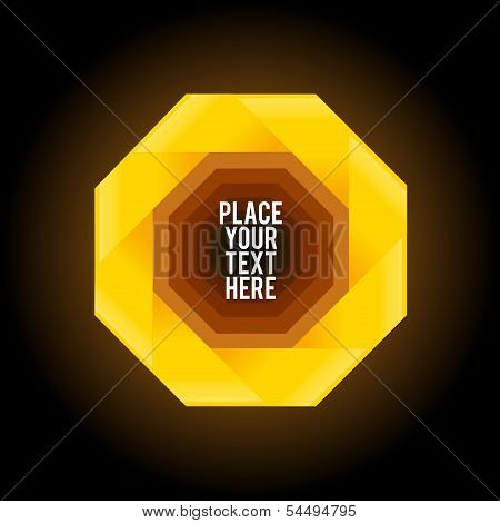 Yellow octagon shape on dark background