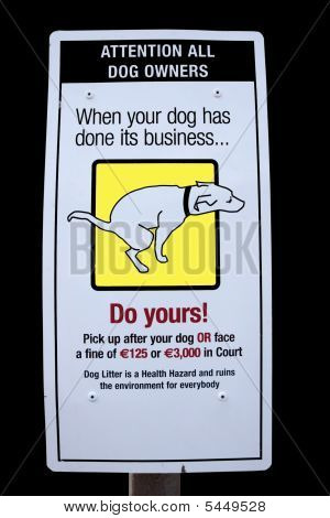 Pooping Dog Sign With Clipping Path